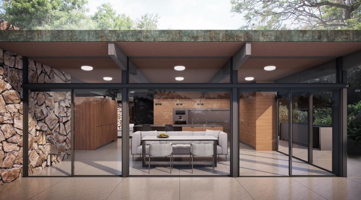 Mariposa House | Exterior Kitchen | Brininstool+Lynch