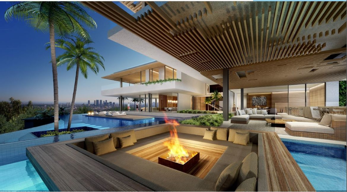Hillside House Exterior Firepit | SAOTA-Designed House Listed at $43M
