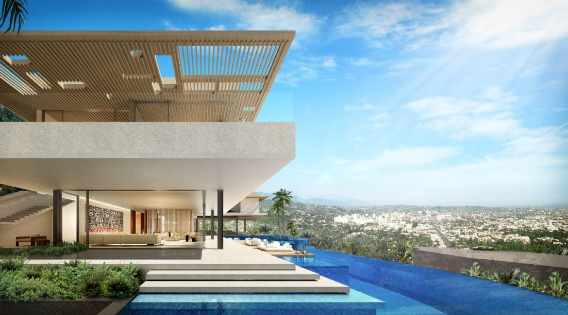 Hillside House Exterior Infinity-Edge Pool | SAOTA-Designed House Listed at $43M